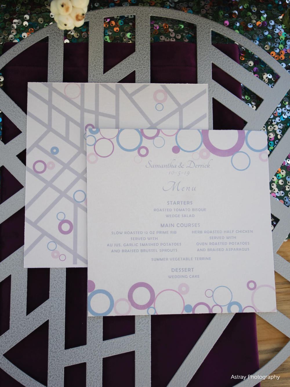 Front & back view of mid century modern invitation in blue, lavender & silver