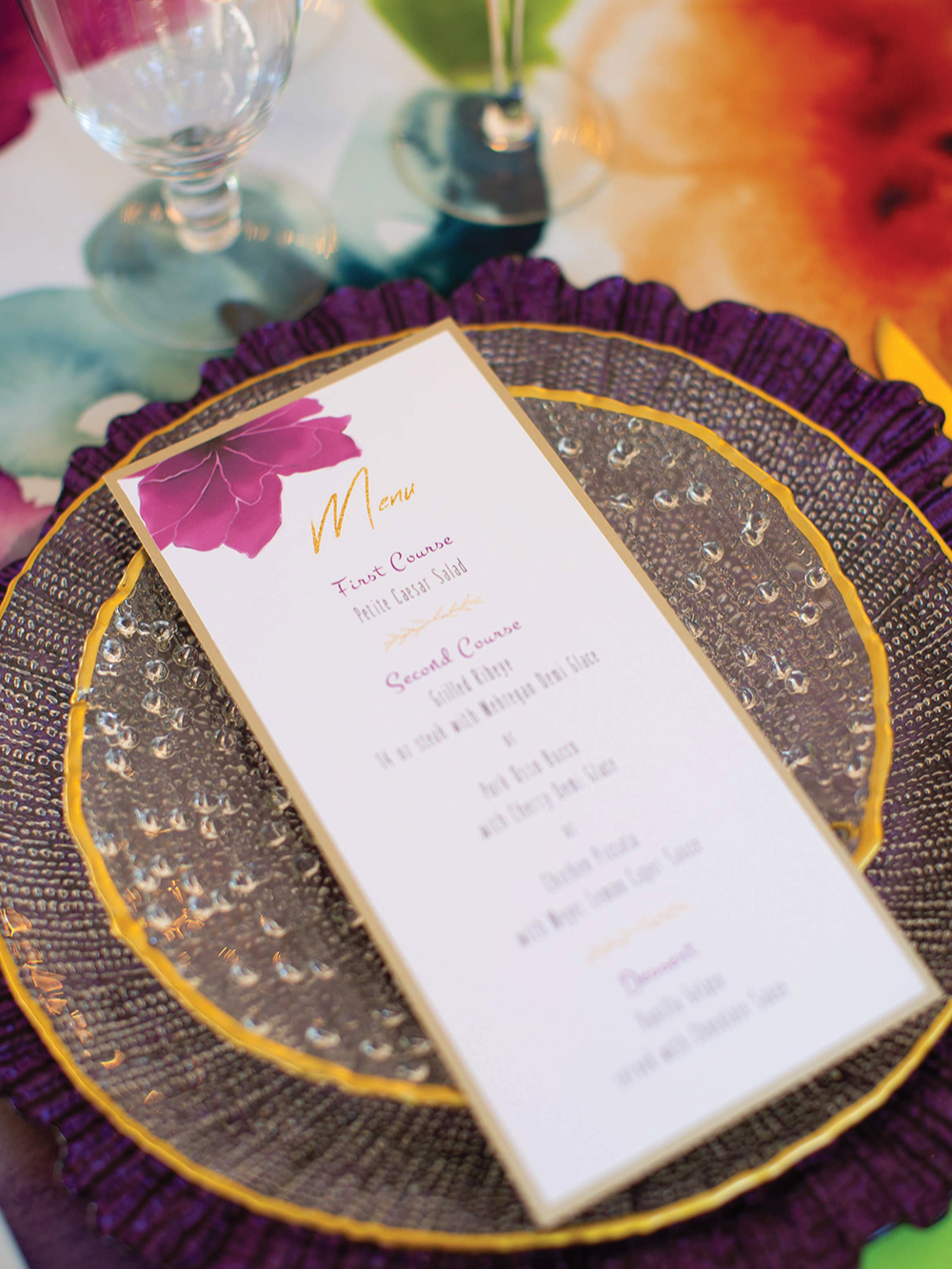 Custom menu in purple and gold