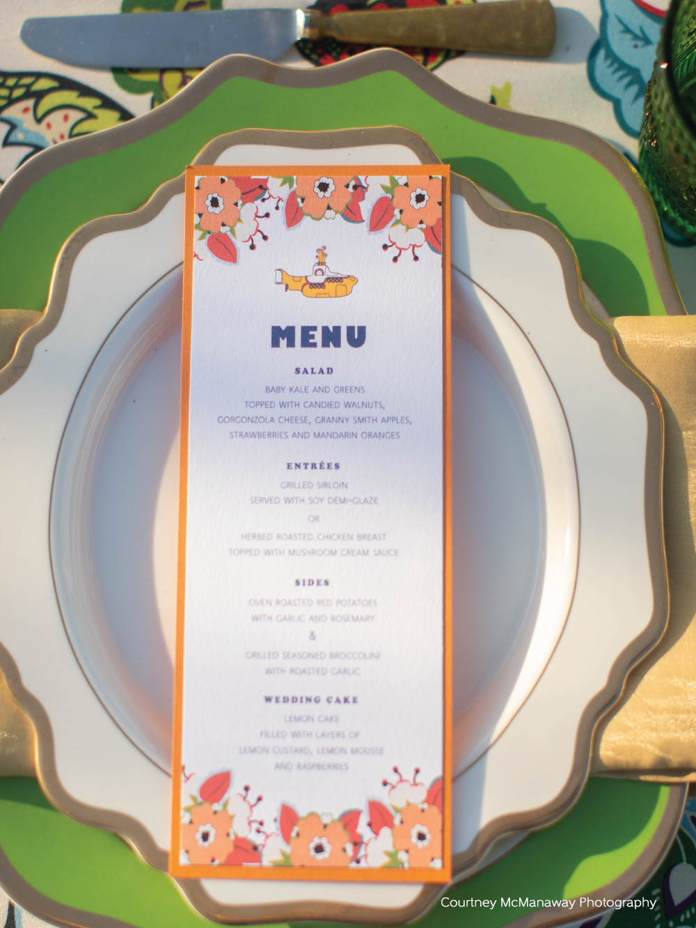 Closeup of Beatles themed menu