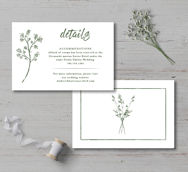 front & back of a details card for a botanical invitation suite