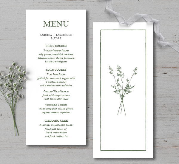 the front and back of the menu for the Andrew Suite