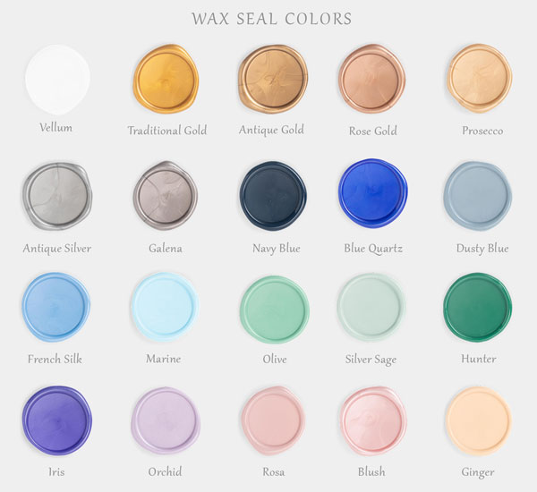 20 different wax seal colors