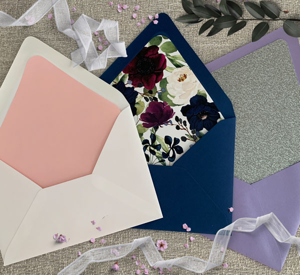 Assortment of deep flap envelopes with envelope liners.