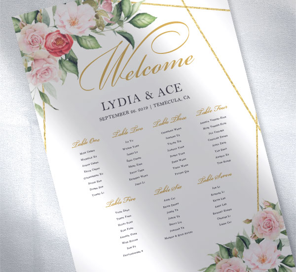 Seating chart with floral design