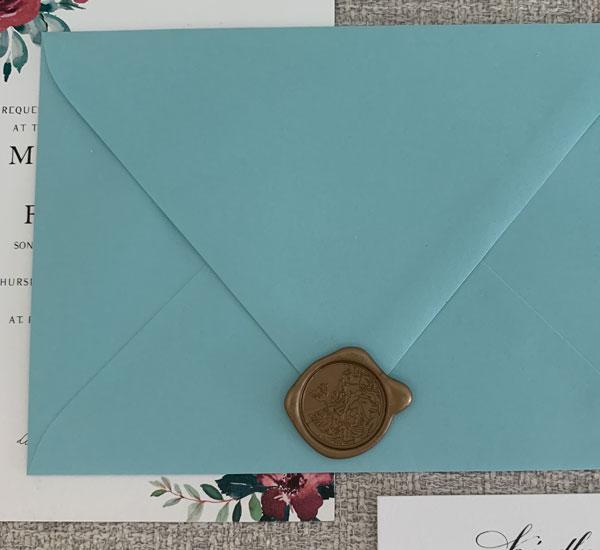 wax seal on invitation
