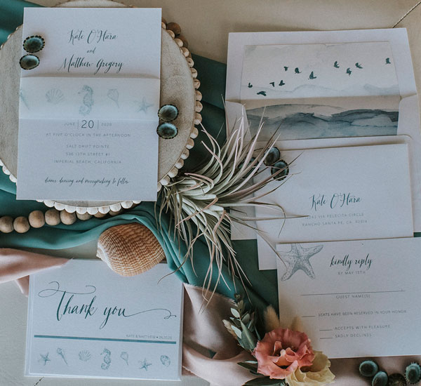 beach theme invitation suite