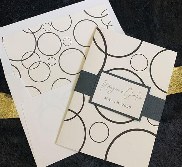 Black & white invitation folder & coordinating envelope liner