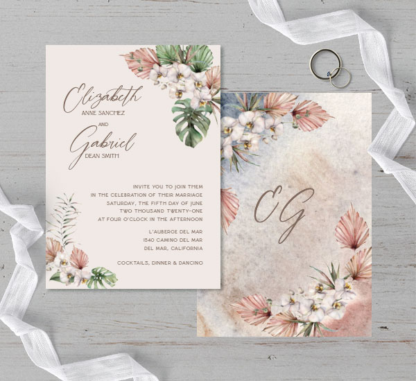 front & back view of wedding invitation