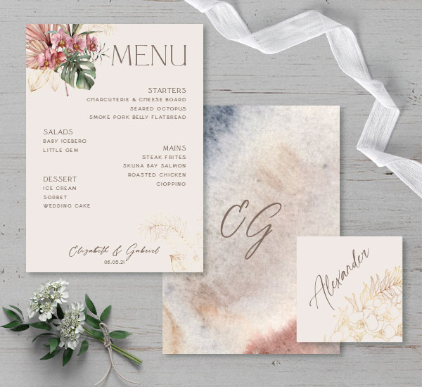 menu card front & back with matching escort card