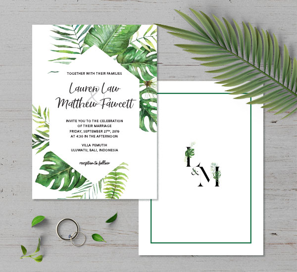 front & back of tropical themed wedding invitation