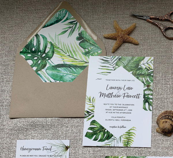 Tropical invitation with envelope & coordinating envelope liner