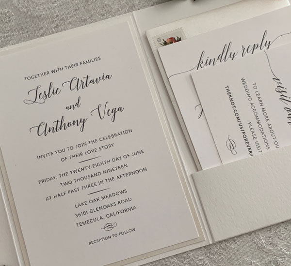 image of inside of Leslie & Anthony wedding invitation folder