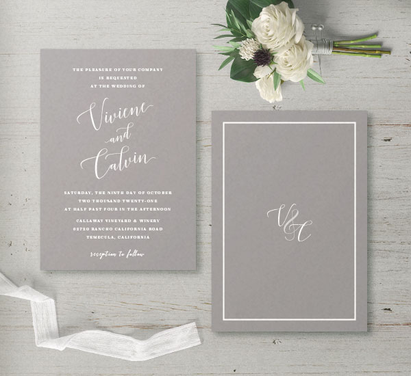 gray & white invitation - front & back view
