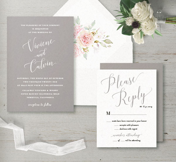 Semi-custom invitation suite in gray & white with white envelope and floral envelope linver