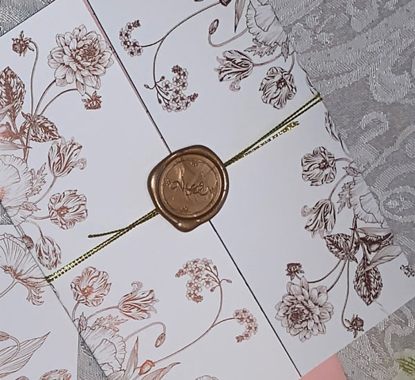 Rose Gold Foil Invitation Folder with Gold Cord & Wax Seal