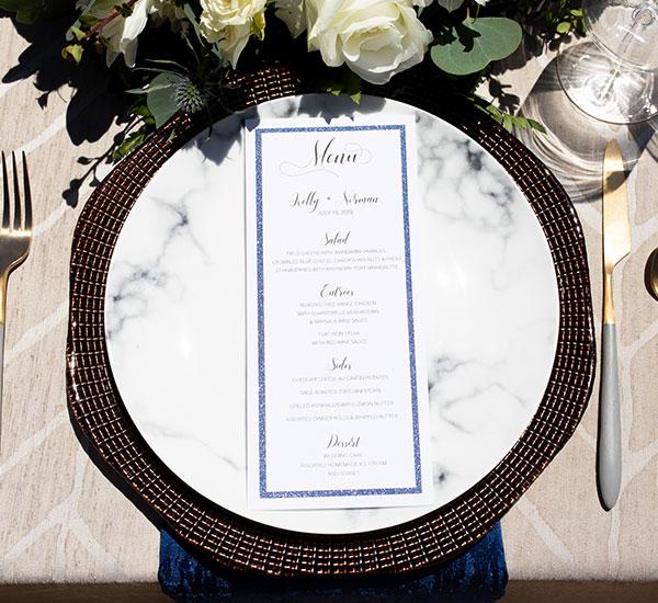 menu on place setting