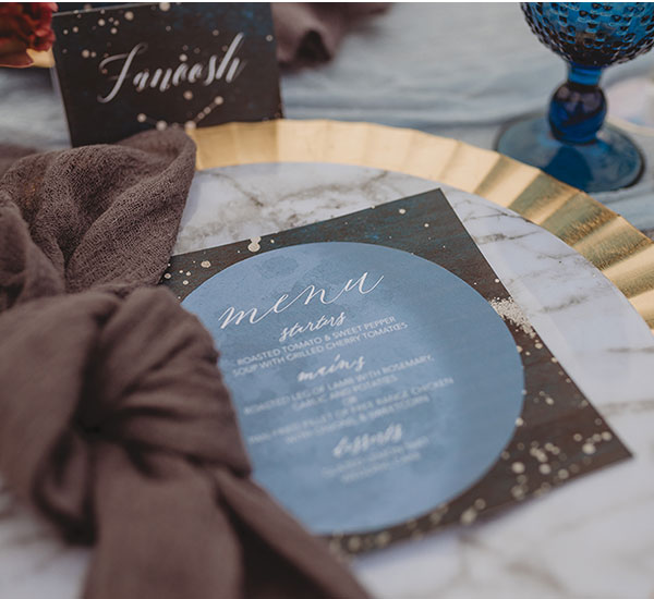 close up of table setting with menu and place card