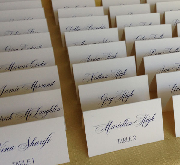rows of place cards