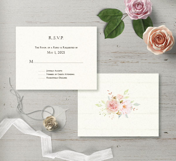 response card for the Cozette invitation suite - minimalist front with subtle florals on back