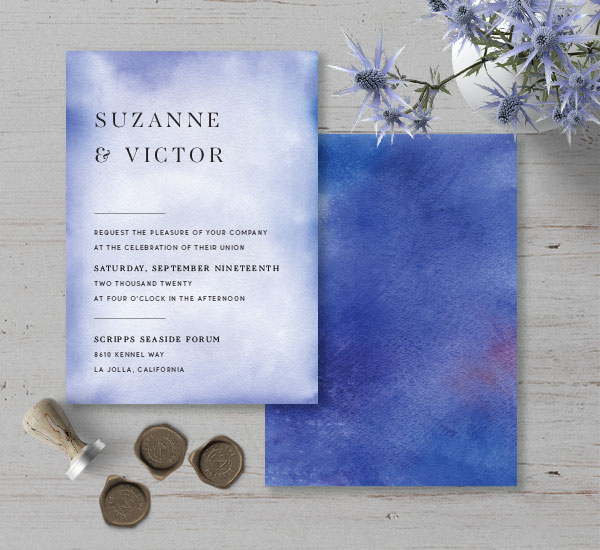 Simple, minimalist invitation with blue watercolor background