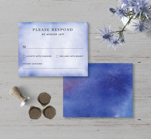 minimalist response card with blue watercolor background