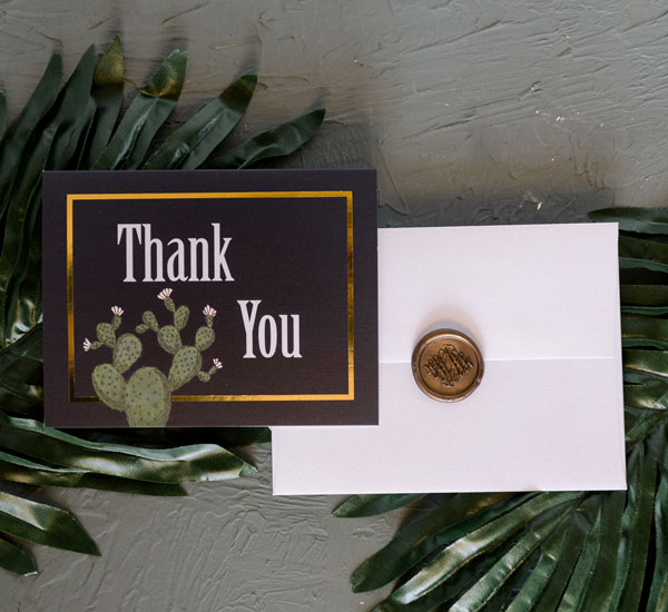 Thank You card, envelope and wax seal