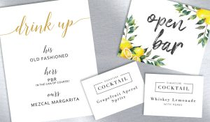 Wedding Day Signs for Drinks, Cocktails and an Open Bar
