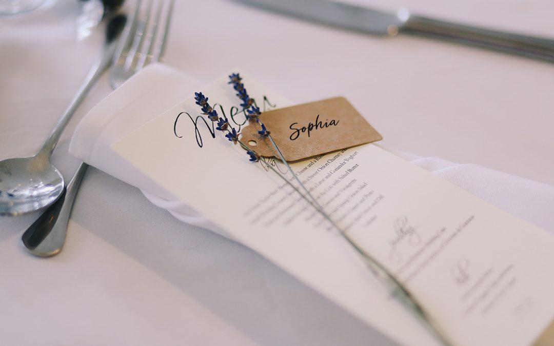 Menu & place card on napkin